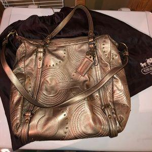 Authentic Metallic gold Coach purse